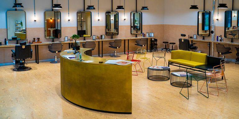 Cork flooring in hairdressers