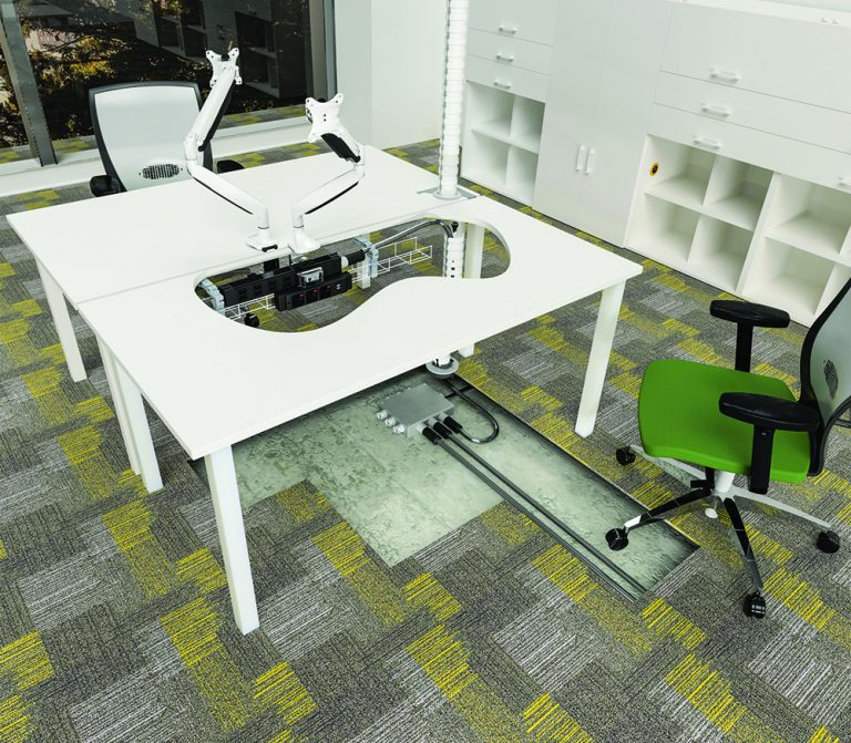 Office desk with charging station