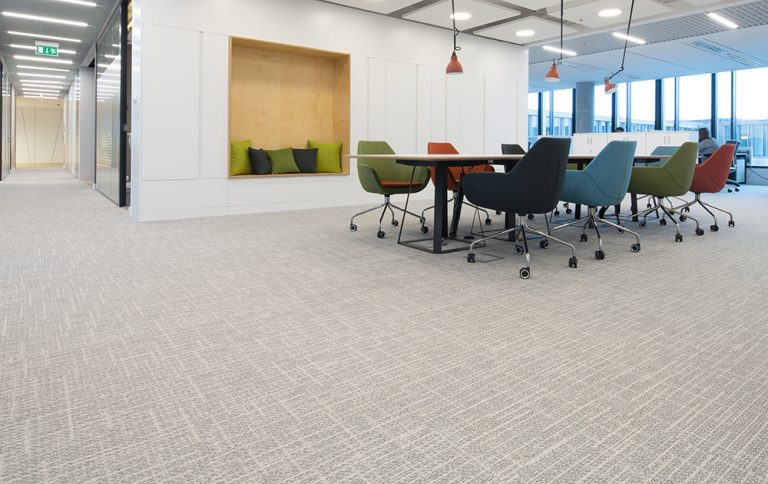 Room with carpet tiles in office